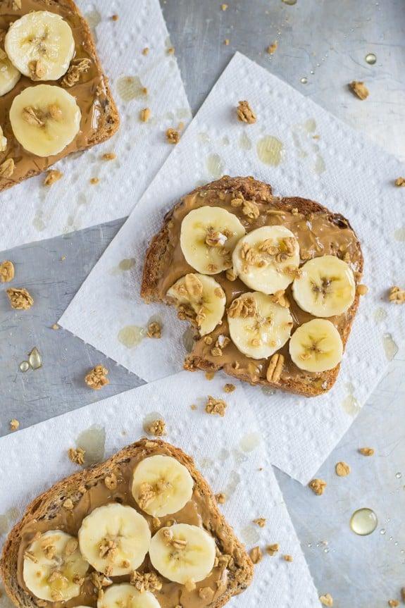 Peanut Butter Toast with Banana, Granola and Honey
