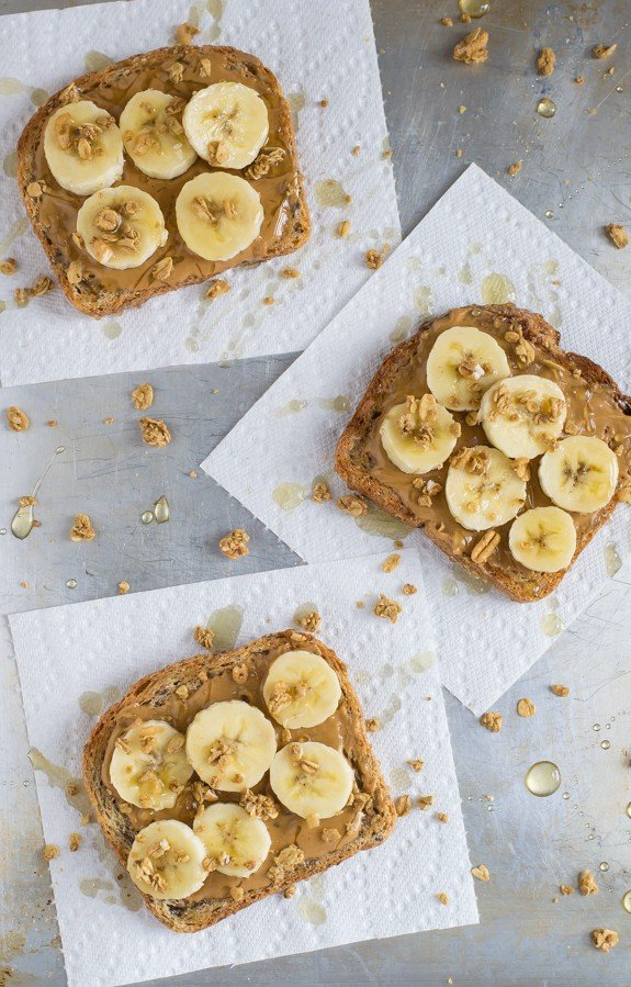 Peanut Butter Banana Toast with Granola and Honey