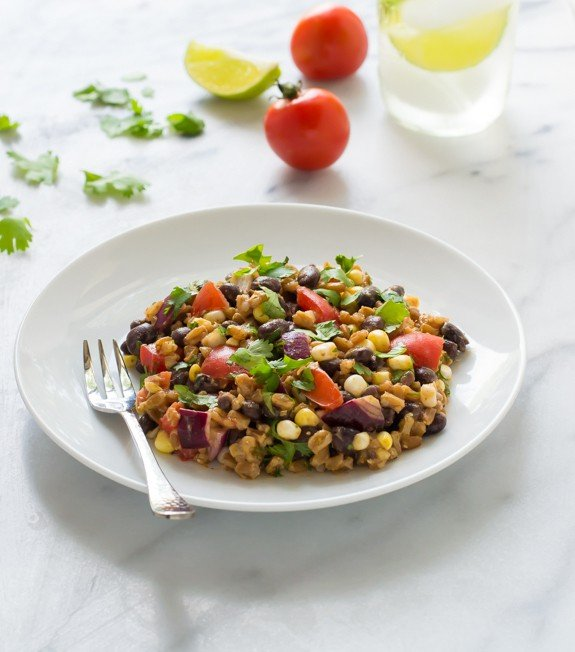 Southwest Farro Salad with Corn and Tomatoes. An (almost) no-cook dinner!