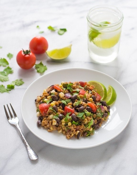 Southwest Farro Salad with Corn and Tomatoes