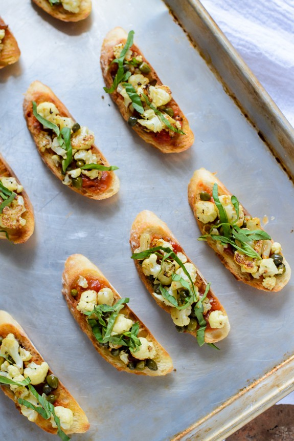 Roasted Cauliflower Brushetta-An easy, healthy party appetizer