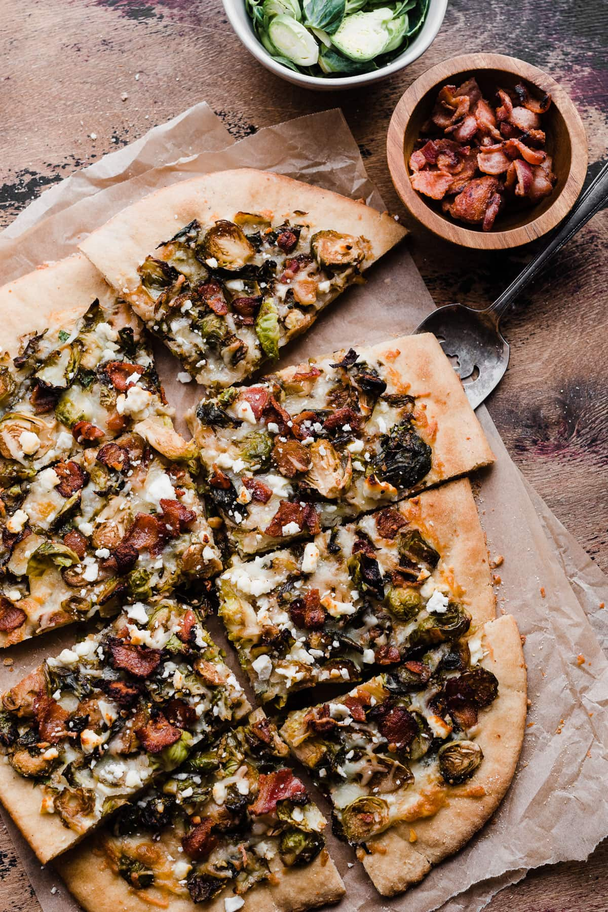 Balsamic Brussels Sprouts Bacon and Feta Pizza. The best way to eat Brussels sprouts!