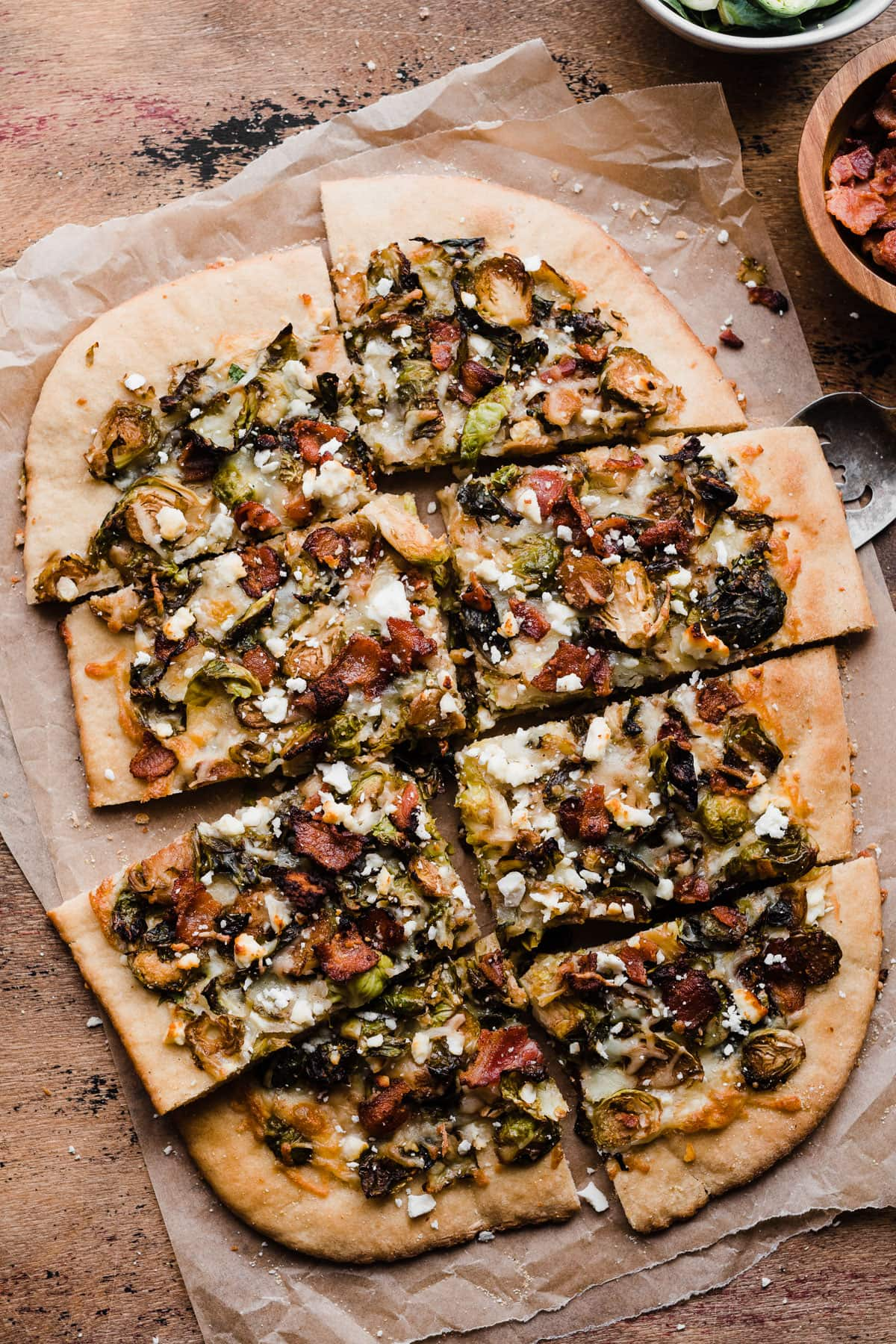 Balsamic Brussels Sprouts, Bacon and Feta Pizza