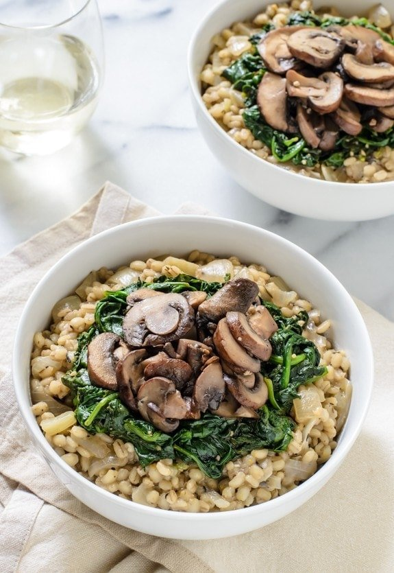 Creamy Barley Risotto with Garlic Mushrooms and Spinach