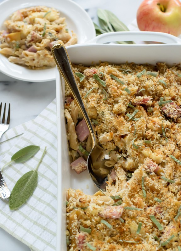 Healthy Cheesy Ham and Apple Casserole with Sage