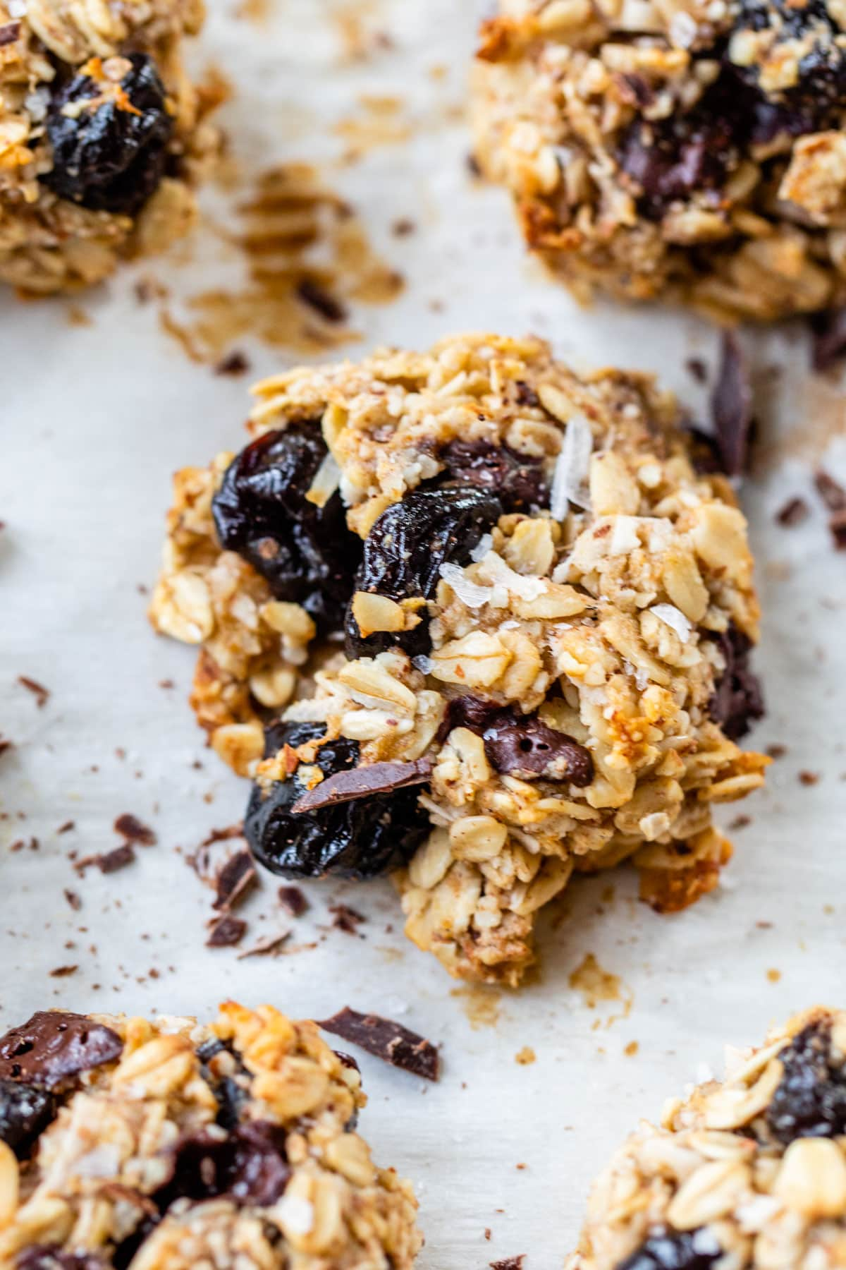 Healthy Chocolate Cherry Snack Cookies. Vegan and Gluten Free with Oatmeal and Coconut