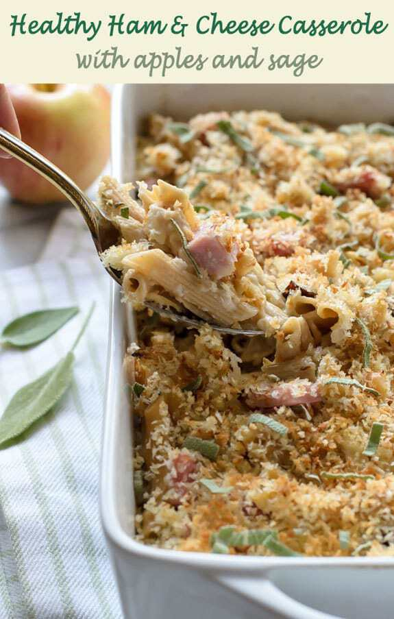 Healthy Ham and Cheese Casserole with Apples and Sage