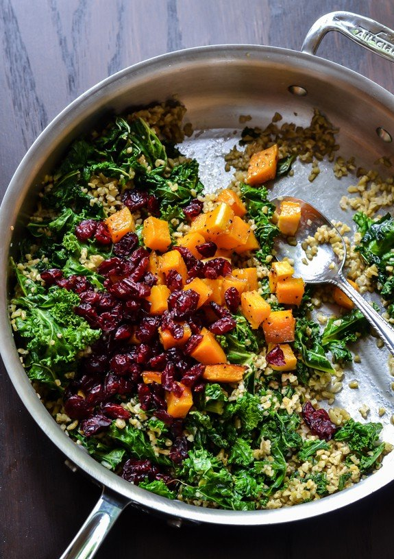 Maple Roasted Butternut Squash Salad with Kale, Freekeh, and Cranberries