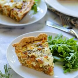 Sweet Potato Quiche with Goat Cheese, Caramelized Onions, and Rosemary