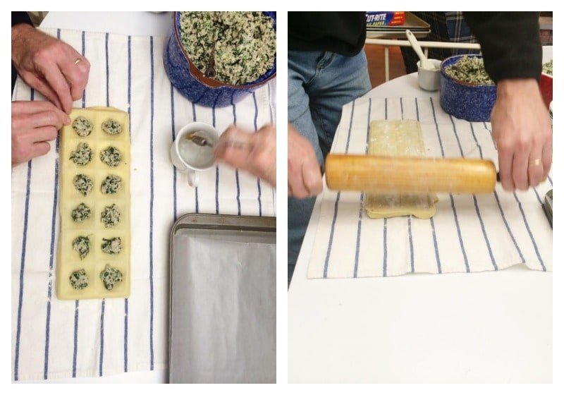 Filling the molds-homemade ravioli