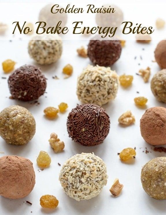 Golden Raisin No Bake Energy Bites