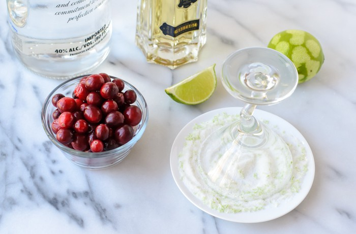 St. Germain Cocktail with Cranberry and Sugared Rim