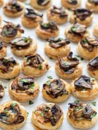 Cheesy Mushroom Puff Pastry Bites with Caramelized Onions