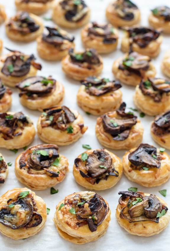 Cheesy mushroom puff pastry bites for Puff pastry canape ideas