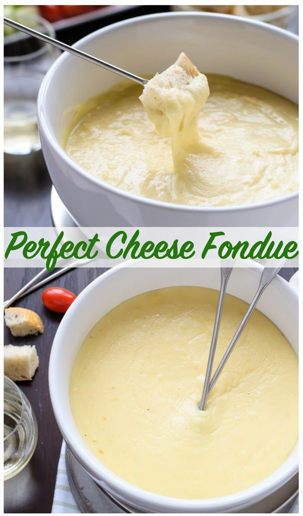 Easy Cheese Fondue! A classic cheese fondue recipe, what to use for fondue dippers, and how to make the perfect cheese fondue every time. Includes Swiss cheese fondue with gruyere, beer cheese fondue with cheddar, and a non-alcoholic fondue option. #cheesefondue #wellplated #recipe #easy