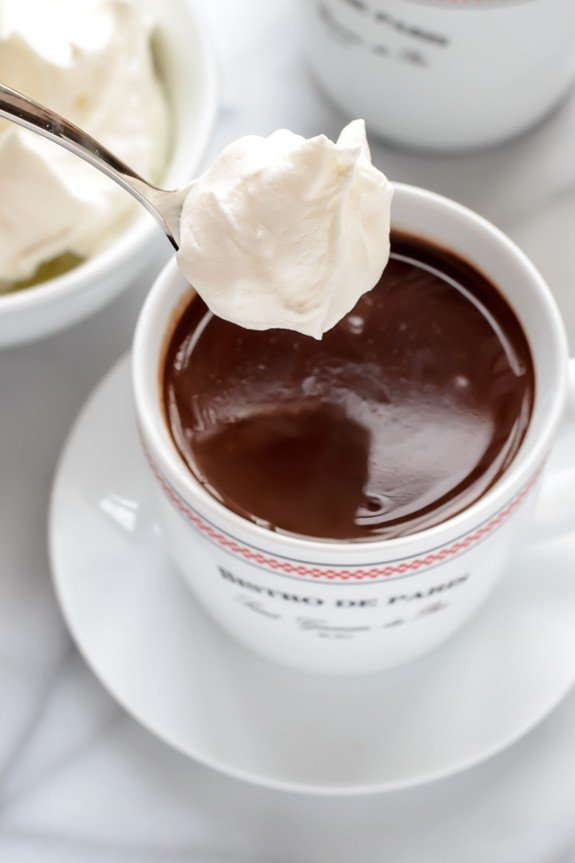 French Hot Chocolate with Whipped Cream