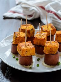 Sweet Potato Sausage Skewers with Dijon dipping sauce