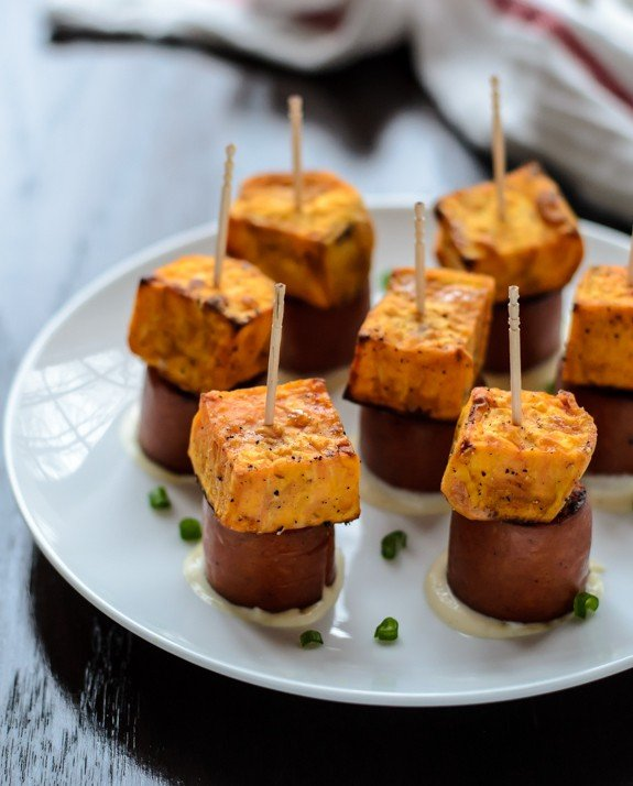 Sweet Potato Sausage Skewers with Dijon dipping sauce. An easy, healthy appetizer recipe