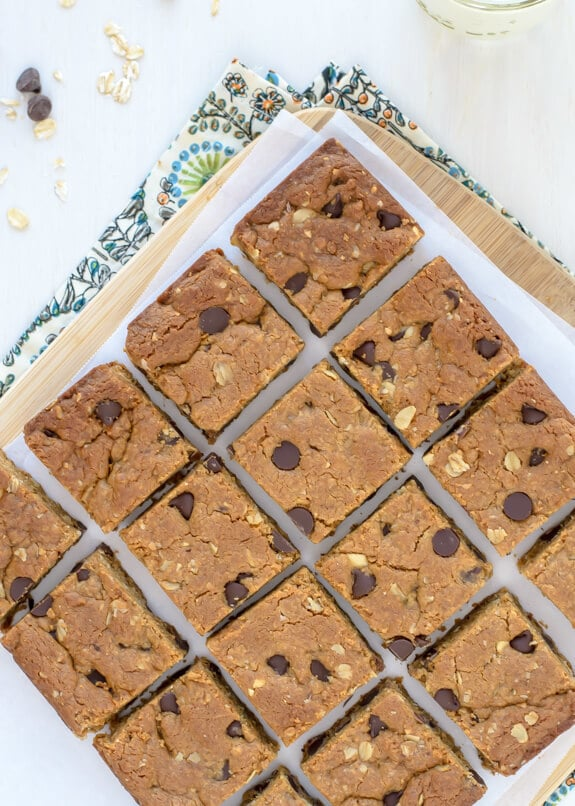 Peanut Butter Oatmeal Bars with Chocolate Chips. Gluten Free!