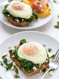 A fast, healthy and easy dinner! Kale Feta Eggs Florentine on toast. Simple and DELICIOUS.