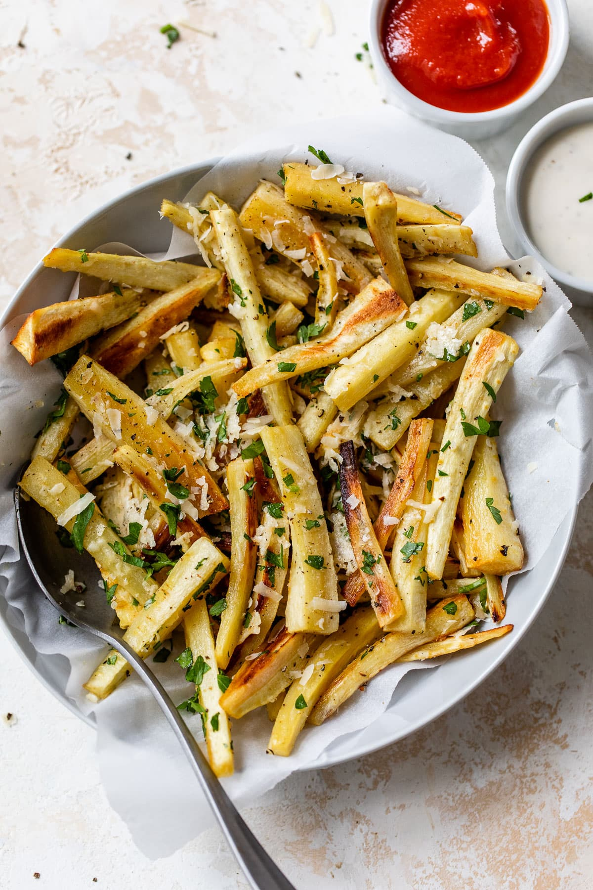 Baked Parsnip Fries with Parmesan and Parsley