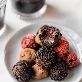 Dark Chocolate Red Wine Truffles. The perfect touch of decadence to end with after a romantic dinner for two!