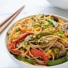 Easy Veggie Lo Mein recipe that's perfect for busy weeknights. Paelo and gluten free!