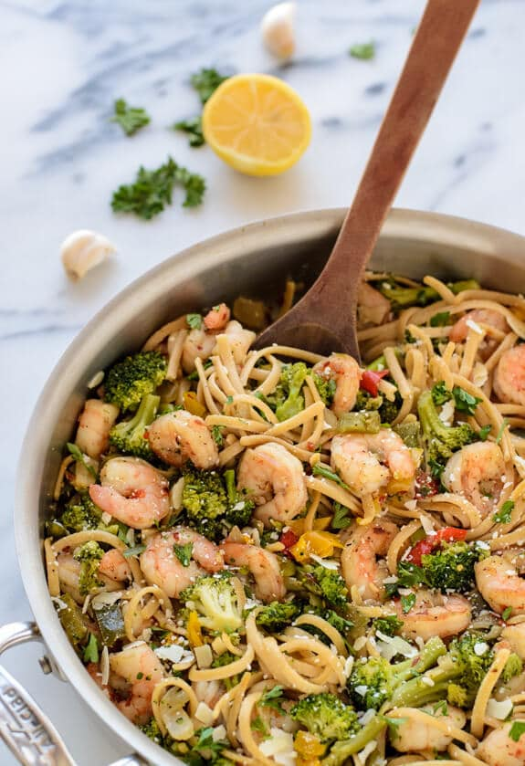 Skinny Shrimp Pasta with Garlic and White Wine. A healthy pasta dish that easily swings from romantic dinner recipe to weeknight dinner!