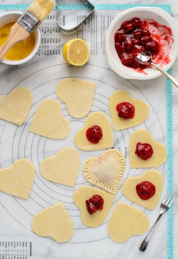 Use a cookie cutter to make heart shaped Strawberry Hand Pies