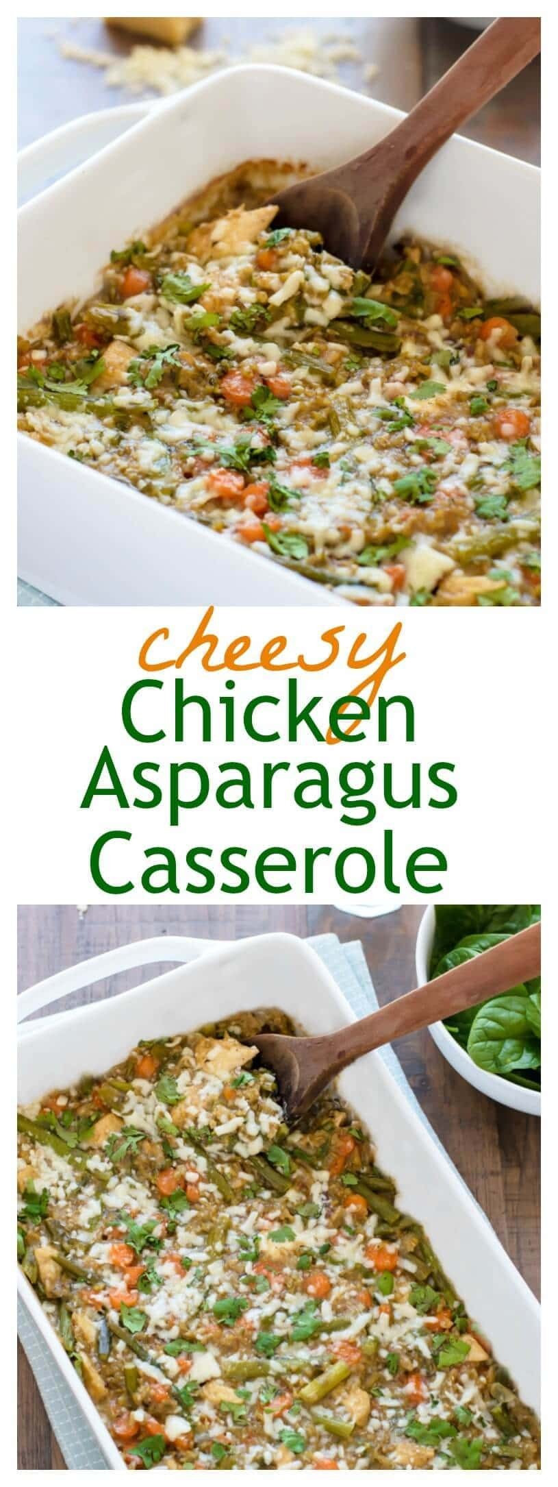 Cheesy Chicken Asparagus Casserole. Healthy and freezer friendly!