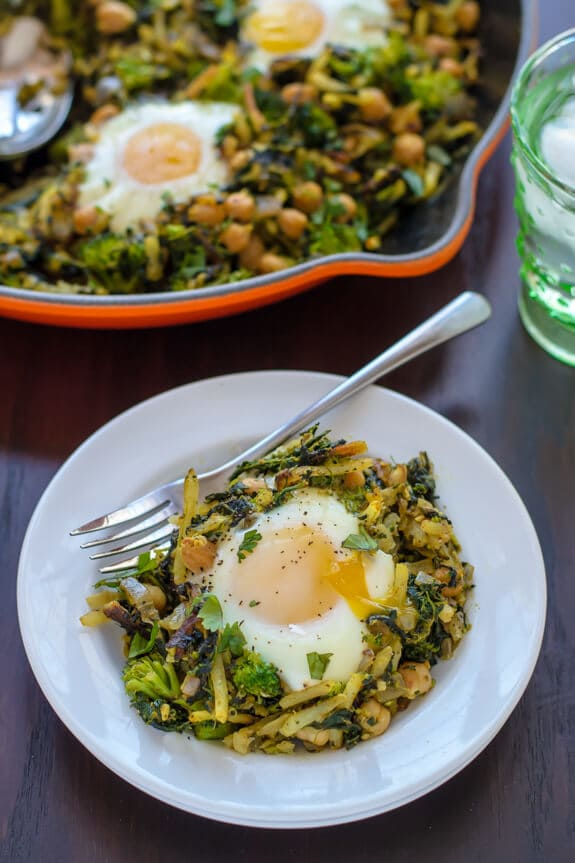 Curried Chickpea Hash with Green Veggies