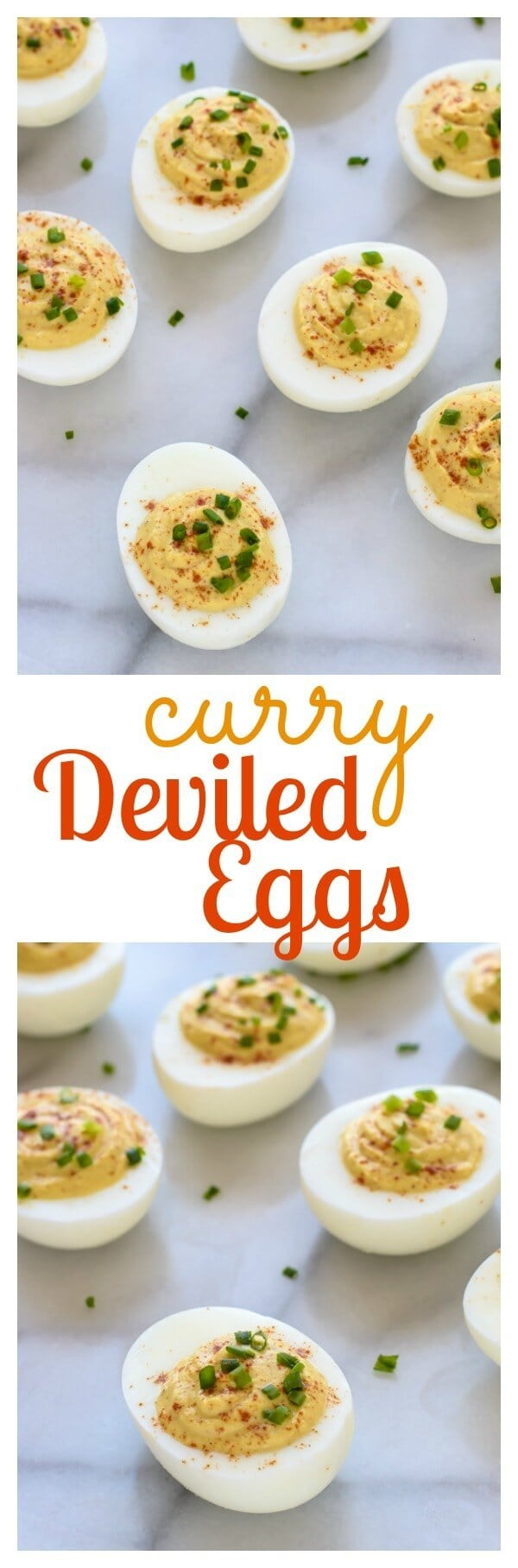 Curried Deviled Eggs. A yummy spin on classic deviled eggs that are a hit at any party!