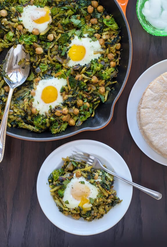 Easy Curried Chickpea Broccoli Hash. {gluten free}
