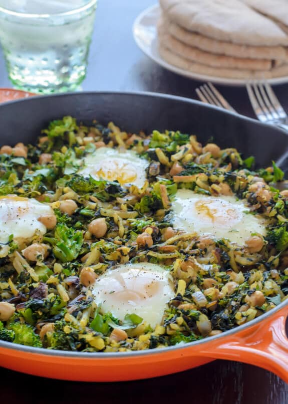 One Skillet Chickpea Hash with Broccoli (gluten free)