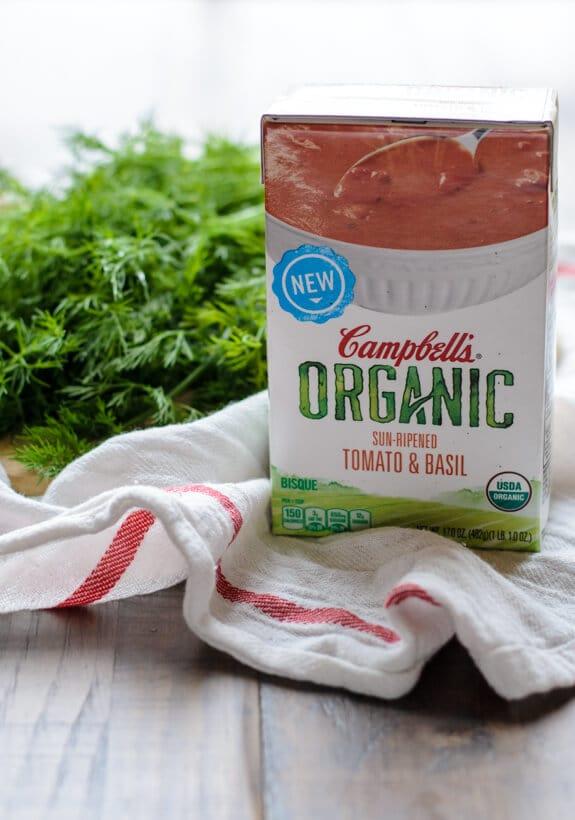 Pea Dill Feta Crostini with Tomato Soup