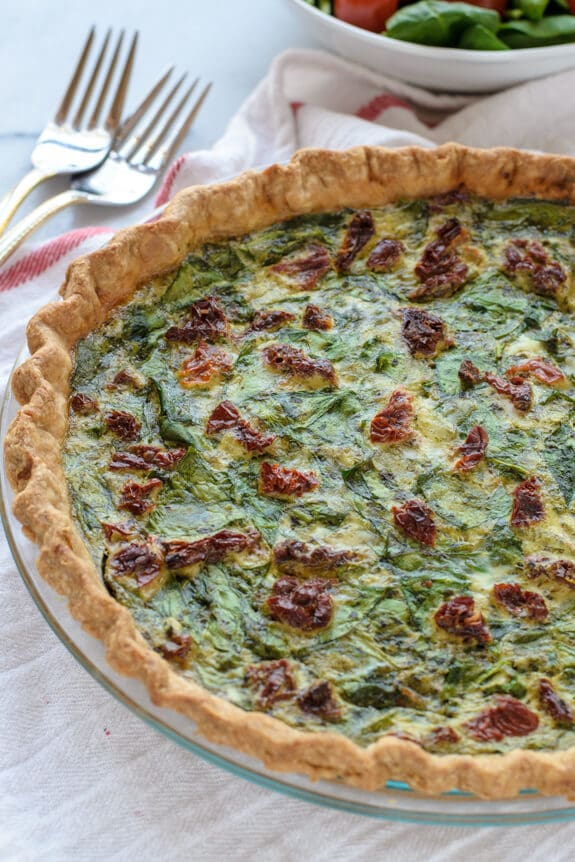 Pesto Quiche with Sundried Tomatoes