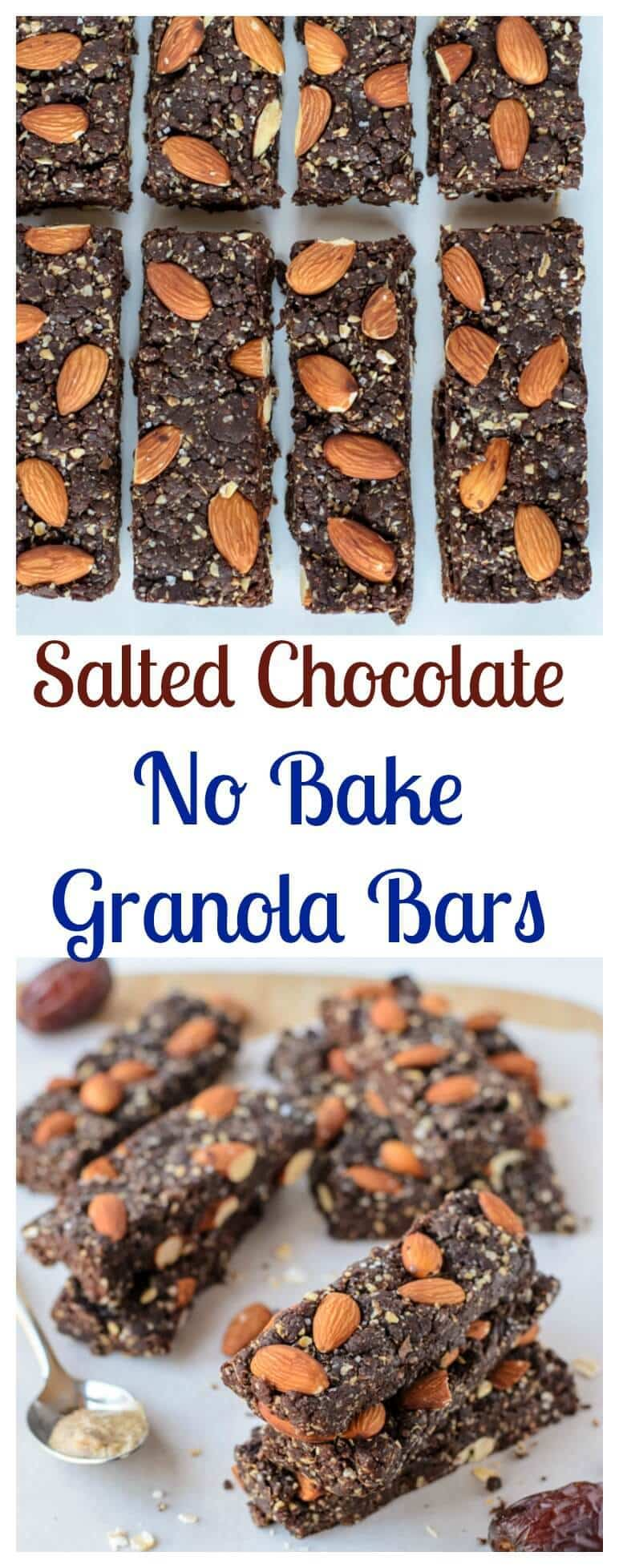 Salted Chocolate Almond No Bake Granola Bars. Heathy and tastes just like a chocolate brownie or Larabar. (vegan, gluten free)