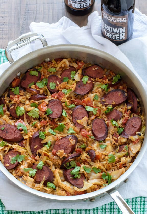 Skillet Cabbage and Sausage with Rice. A healthy and hearty one pan meal!