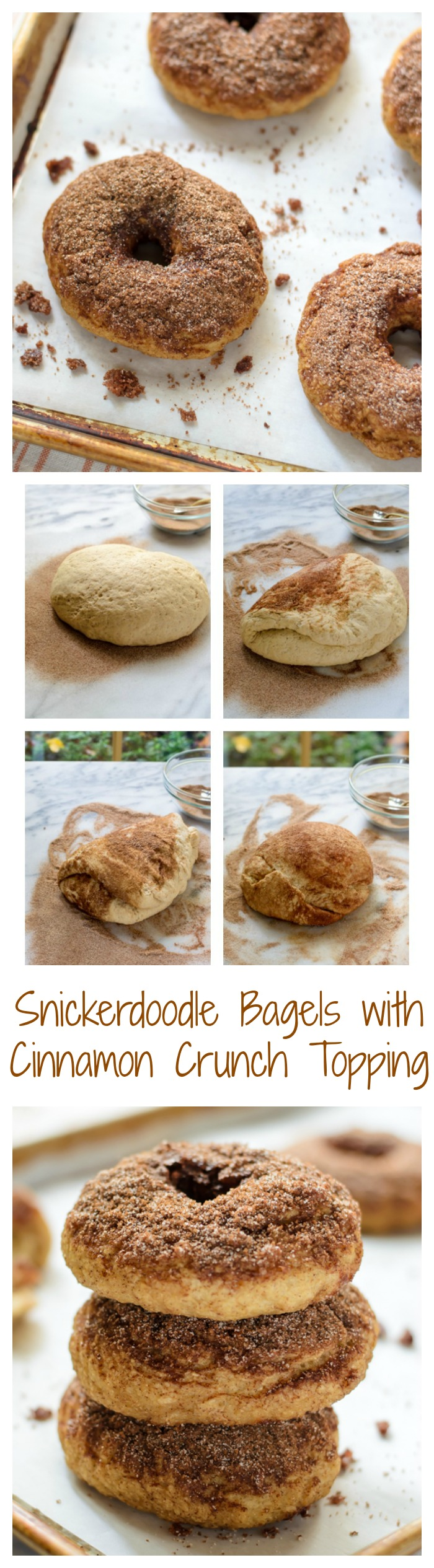 Snickerdoodle Bagels with Cinnamon Crunch Topping // Well-Plated