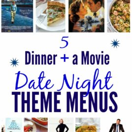 A collage of movie posters and recipes for date night ideas