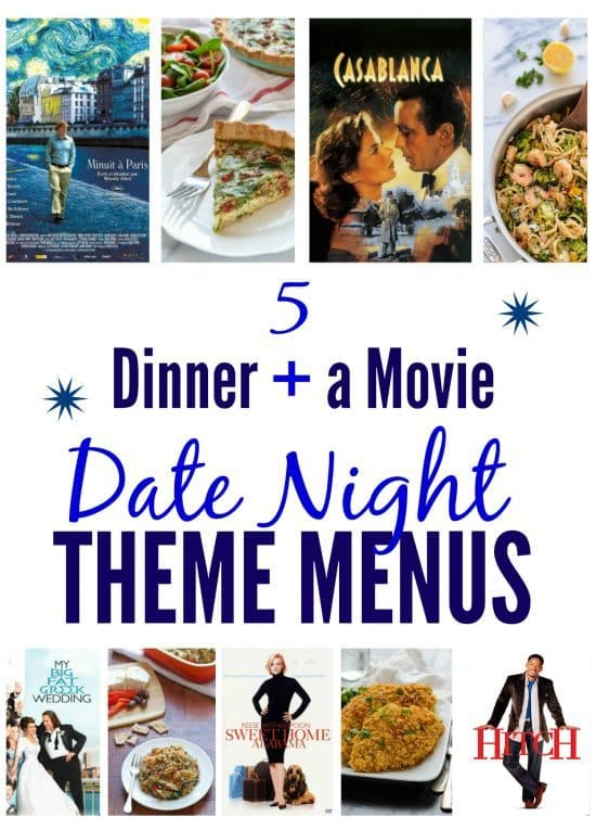 A collage of movie posters and recipe photos for date night ideas