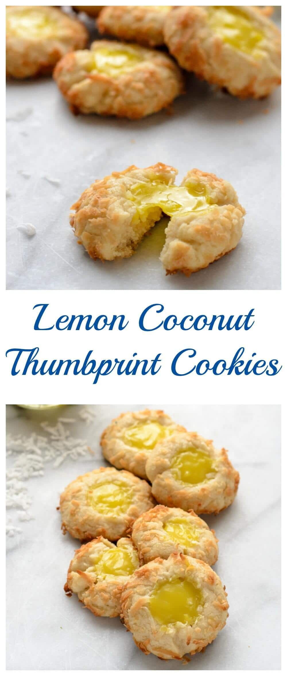 Buttery Lemon Coconut Thumbprint Cookies.