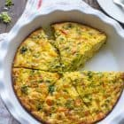 Cheesy Chicken Pepper Broccoli Frittata. Perfect for any meal! Easy, healthy, and a great way to use up leftovers too.