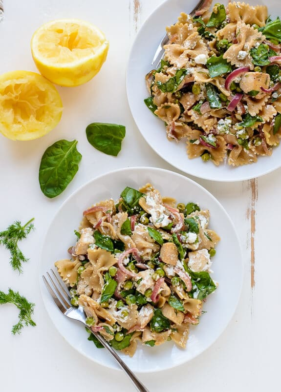 Fast and fabulous Lemon Dill Chicken Pasta with Goat Cheese