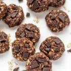 Soft and chewy healthy no bake cookies, loaded with peanut butter and chocolate chunks. Perfect for when you want to indulge AND stick to your diet. Kids love them too!