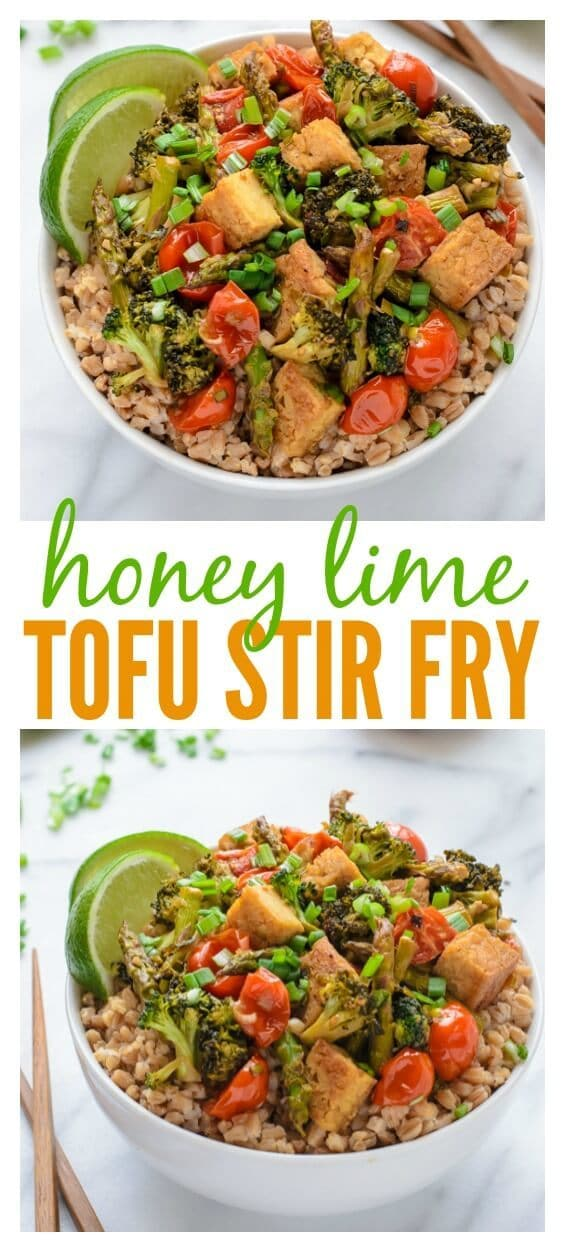 Honey Lime Tofu Stir Fry. A fast, healthy, 30 minute meal. Vegetarian and gluten free!.jpg
