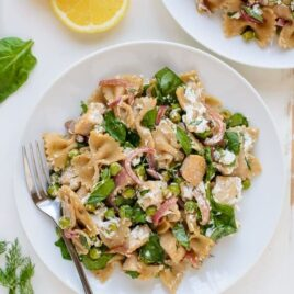Quick and easy Lemon Dill Chicken Pasta with Goat Cheese
