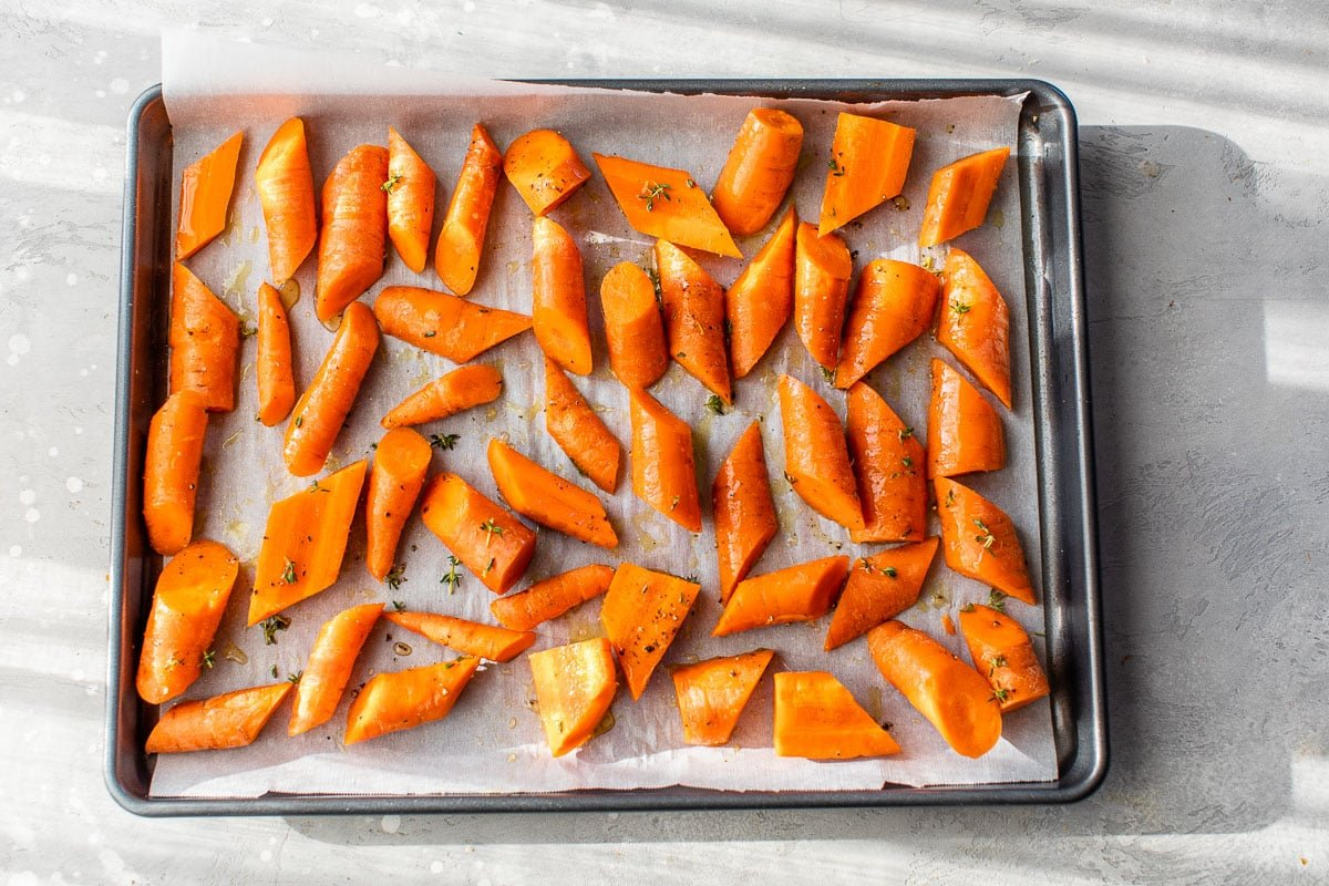Rainbow Roasted Carrots with Tahini Sauce