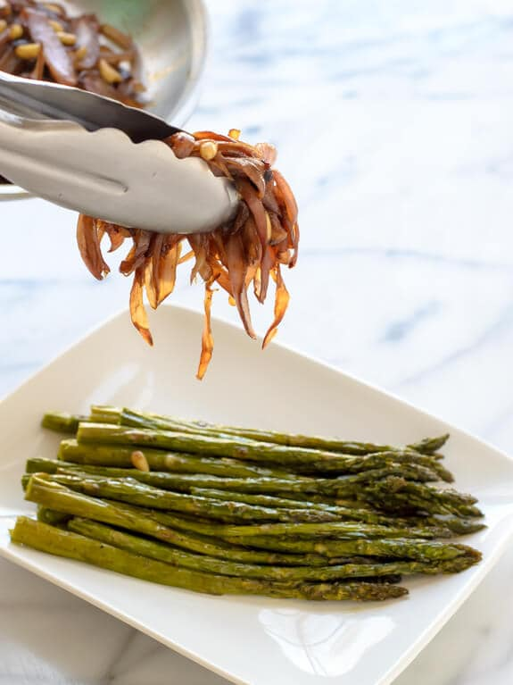 Roasted Asparagus topped with Caramelized Onions