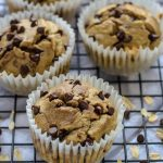 Blender Banana Oatmeal Muffins topped with chocolate chips